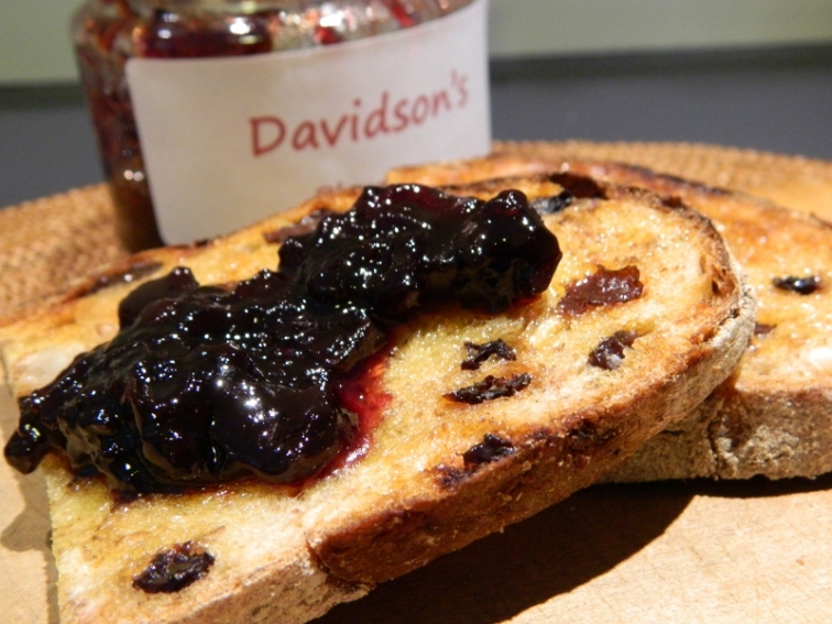 Davidson's Plum jam with macadamia fruit toast