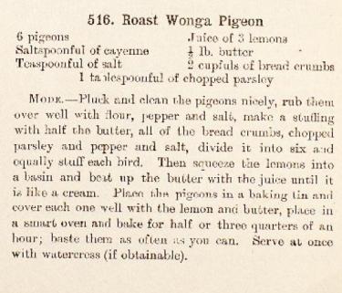 Wonga Pigeon recipe
