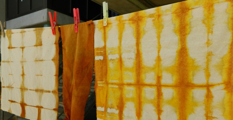Brown onion dyed fabric drying