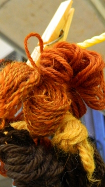 Brown onion dyed wool