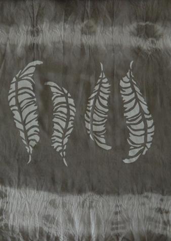 Detail from Eucalpytus silk scarf