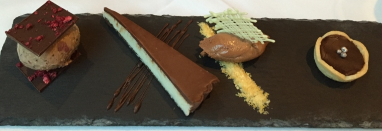 Chocolate plate - aero mint mousse, bounty chocolate tart, cherry ripe ice cream & snickers tart