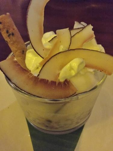 Sago pearls, black sticky rice, pineapple sorbet & pandan foam
