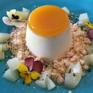 Lemon Verbena and passionfruit panna cotta