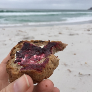 Fruit toast breakfast on the beach