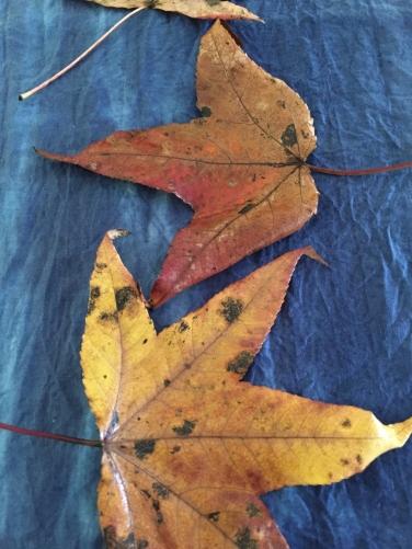 Leaves on Indigo dyed silk